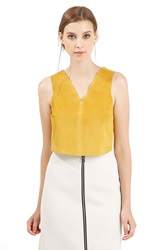 Topshop Suede Crop Shell Yellow