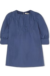 Atlantique Ascoli Ruched Cotton Poplin Blouse Blue
