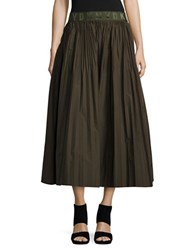 Dkny Solid Pleated Skirt Military