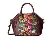 Elliott Lucca Faro City Satchel Black Cherry Autumn Botanica Satchel Handbags Brown