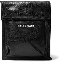 Balenciaga Arena Logo Print Creased Leather Messenger Bag Black