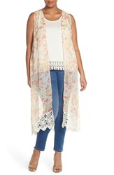 Plus Size Women's Bb Dakota 'Arlee' Lace Border Long Floral Vest Multi