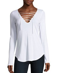 Splendid Long Sleeve Lace Up V Neck Tee White