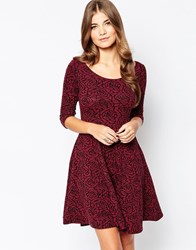 Pussycat London Skater Dress In Rose Knit Red
