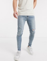 Liquor N Poker Skinny Fit Jeans With Knee Rips In Light Wash Blue
