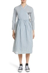 Shrimps Women's Hermione Gingham Seersucker Dress Blue