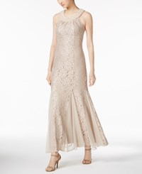 R And M Richards Embellished Lace Gown Champagne