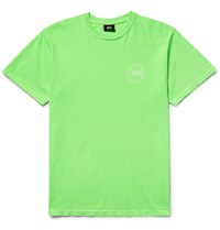 Stussy Printed Cotton Jersey T Shirt Green