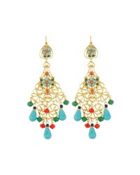 Jose And Maria Barrera Golden Filigree Chandelier Earrings W Multicolor Crystals Beads No Color