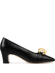 Gucci Leather Mid Heel Pump With Half Moon Gg Black