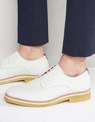 Zign Leather Crepe Sole Derby Shoes White
