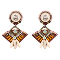 Niino Jewelry Geometric Tribal Statement Earrings Gold