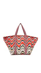 M Missoni Star Stripe Beach Tote Red