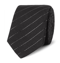 Saint Laurent 5.5Cm Striped Cotton Blend Tie Black
