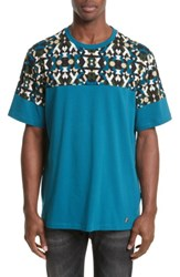 Versace Men's Collection Geo Colorblock T Shirt Teal Print