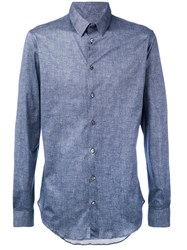 Giorgio Armani Long Sleeve Shirt Men Cotton 41 Blue