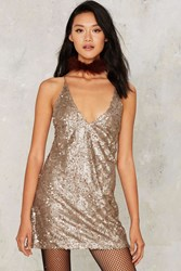 Motel Dinah Sequin Mini Dress Gold