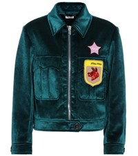 Miu Miu Velvet Beaded Applique Jacket Blue