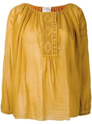 Forte Forte Embroidered Peasant Blouse Yellow Orange