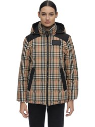 Burberry Checked Techno Down Jacket Beige