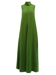 Maison Rabih Kayrouz High Neck Bias Cut Sateen Dress Green
