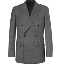 Kingsman Harry's Grey Double Breasted Prince Of Wales Checked Wool Suit Jacket Gray