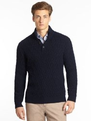 Saks Fifth Avenue Half Button Cashmere Sweater American Navy