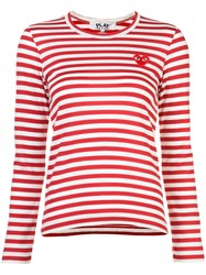 Comme Des Garcons Play Striped Longlseeved T Shirt Women Cotton S Red