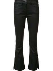 3X1 Wax Detail Flared Cropped Jeans Black