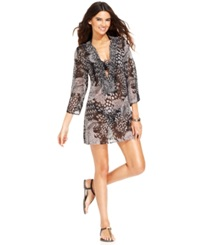 Raviya Mixed Print Beaded Tunic Cover Up Women's Swimsuit Black
