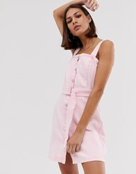Bershka Denim Pini Dress In Pink Pink