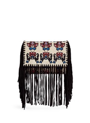 Isabel Marant 'Shiloh' Ethnic Embroidery Suede Fringe Clutch Multi Colour