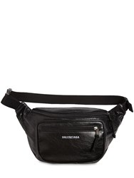 Balenciaga Logo Detail Leather Belt Bag Black