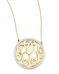 Cutout Monogram Medium Pave White Diamond Necklace Kacey K Gold