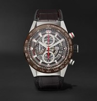 Tag Heuer Carrera Automatic Chronograph 43Mm Stainless Steel Ceramic And Alligator Watch Brown