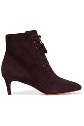 Bruno Magli Lace Up Suede Ankle Boots Red