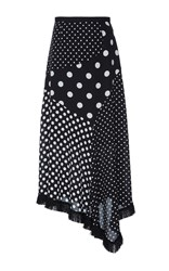 Andrew Gn Polka Dot Asymmetrical Midi Skirt Black White