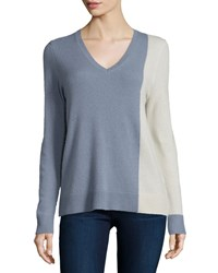 360Cashmere Cashmere Asymmetric Colorblock Sweater Slate Blue