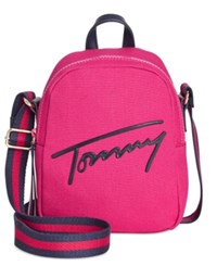 Tommy Hilfiger Script Mini Crossbody Backpack Bright Rose