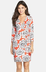 Charles Henry Print Jersey Wrap Dress Coral