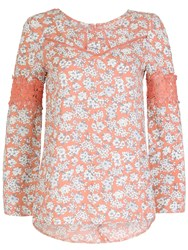 Izabel London Floral Tunic Dress With Lace Borders Pink