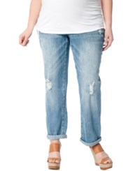 Motherhood Maternity Distressed Bootcut Jeans Light Wash