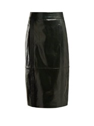 Givenchy Buttoned Back High Rise Leather Pencil Skirt Dark Green