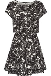 Joie Eley Cutout Printed Silk And Linen Blend Dress Black