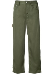 Opening Ceremony Cropped Straight Trousers Women Lyocell 2 Green