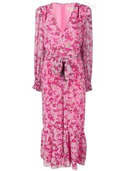 Michael Kors Collection Floral Waist Tied Jumpsuit Pink