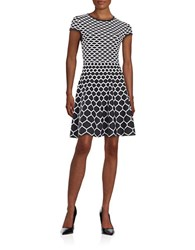 Jessica Simpson Knit Fit And Flare Dress Black White