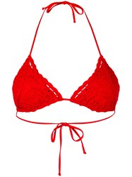 Ermanno Scervino Lace Triangle Bikini Top Women Polyamide Spandex Elastane I Red