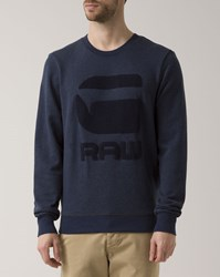 G Star Navy Blue Yster Crew Neck Sweatshirt With Logo