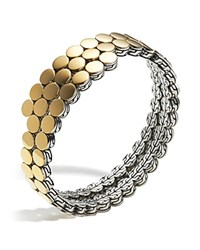John Hardy Sterling Silver And 18K Bonded Gold Dot Two Row Coil Bracelet